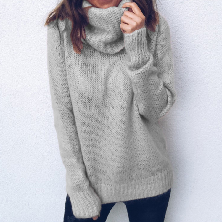 Зимний свитер для женщин 2020 длинный рукав шарф воротник водолазка