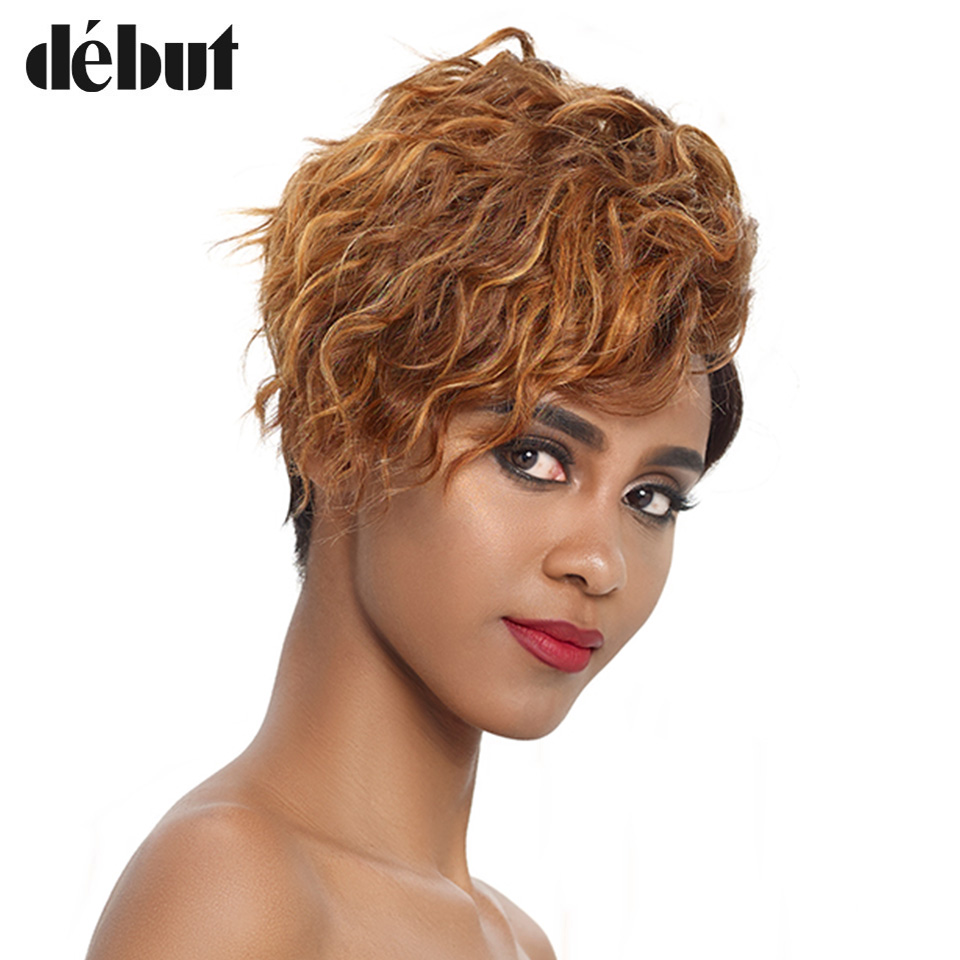 Debut Lace Ombre Human Hair Wigs Curly Short Real Human Hair Wig 100% Remy Brazilian Hair Wigs For Mom Hair U Part Lace Wigs