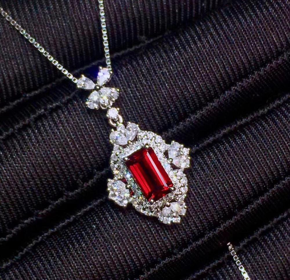 GRS Ruby Pendant Fine Jewelry Real 18K  Gold 100% Natural Red Ruby Gemstones 1.29ct Diamonds Cross Fine Chic Pendant Necklace