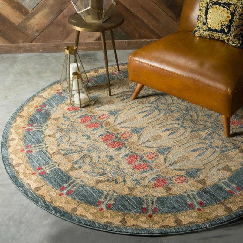 Américain rétro circulaire tapis salon chambre chevet tapis Europe du nord simple turc vent lavable tapis