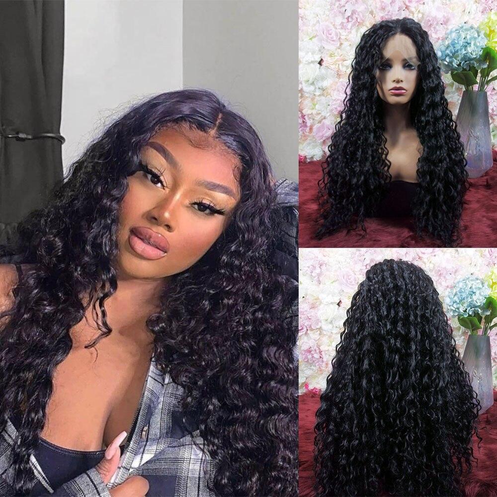 Encaracolado peruca sintética frente do laço preto cabelo longo 250 densidade de fibra resistente ao calor para preto feminino uso diário cosplay wear