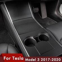 Heenvn Model3 centralne wyposażenie wnętrza samochodu dla Tesla Model 3 konsoli środkowej pokrywa z włókna węglowego ABS trzy 2020