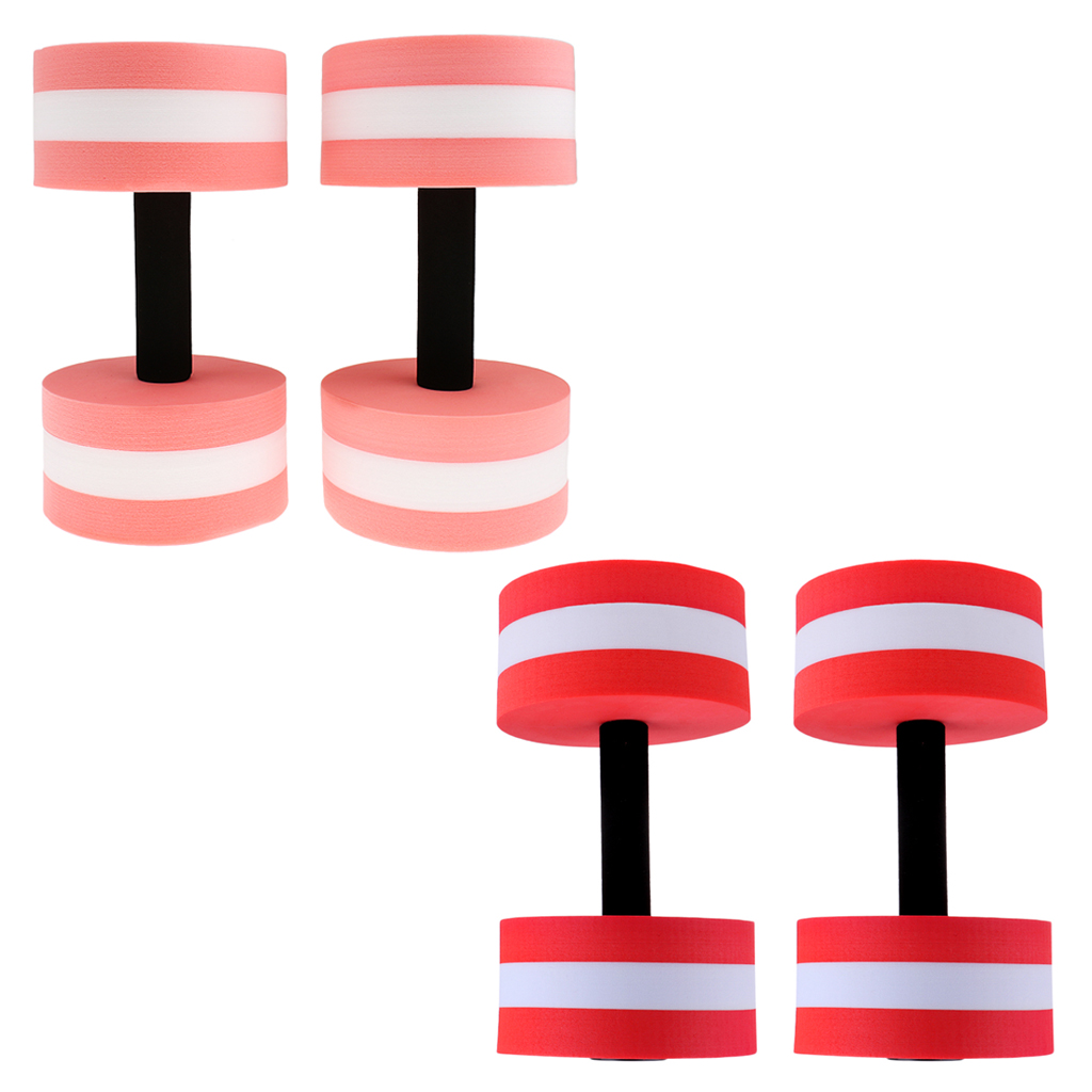 2 Pairs Water Aerobics Aquatic Dumbbells EVA Foam Barbell Pool Workout Exercise Tool Fitness & Body Building Equipments image