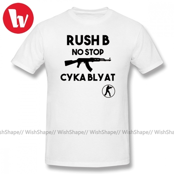 Cyka Blyat T Shirt Rush B No Stop CSGO T-Shirt Men Letter Print Short Sleeve 100% Cotton Male T Shirts Beach Awesome Tee Shirt