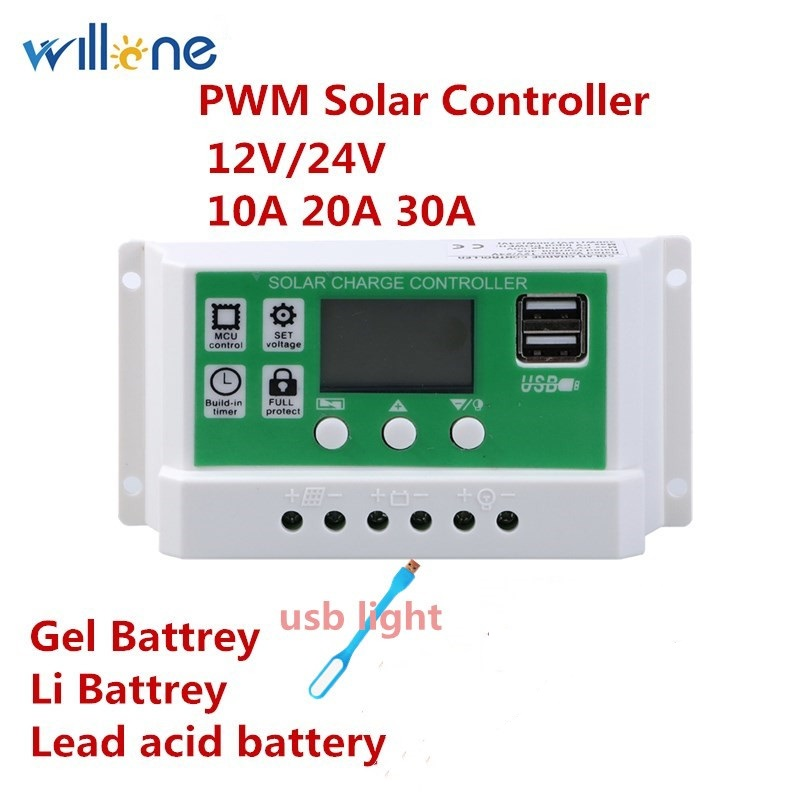 Willone 10A/<font><b>20A</b></font>/30A <font><b>12V</b></font> 24V PWM Lithium Battery Solar Charge Controller LCD Display Dual USB Solar Panel <font><b>Charger</b></font> image