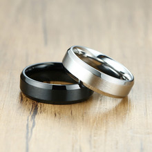 ZORCVENS 2020 New Classic Matte Black Silver Color Stainless Steel Ring For Men Women 6mm Width Promise  Wedding  Jewelry Gifts