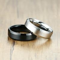 ZORCVENS-anillo de acero inoxidable para hombre y mujer, sortija clásica de Color negro y plateado mate, ancho de 6mm, regalos de joyería para boda, 2021