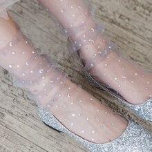 Socks Tulle Lace Mesh Glitter-Stars Thin Transparent Moon Sexy Retro Summer