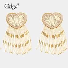 Женские акриловые висячие серьги girlgo в форме сердца рождественские
