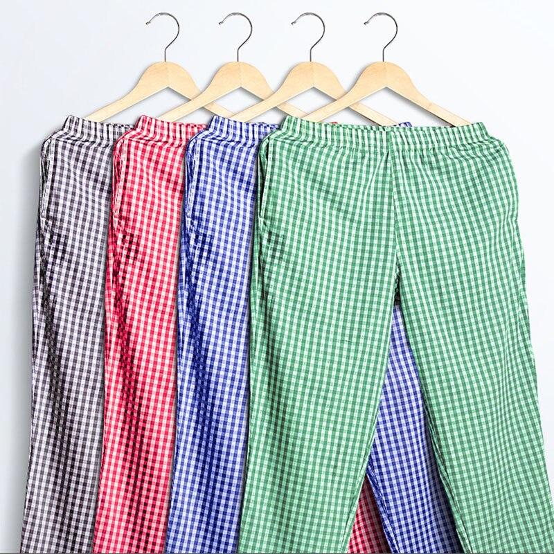 Men's Sleep Bottoms 100% Cotton Summer Home Pants Plaid Fashion Sleepwear Loose Male Pajamas Cotton Large Size Sleep Trousers