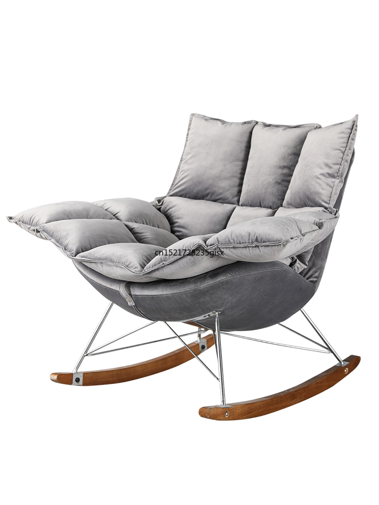 Rocking Chair Nordic Home Balcony Small Sofa Rocking Chair Lazy Sofa Simple Nap Leisure Lounge Chair