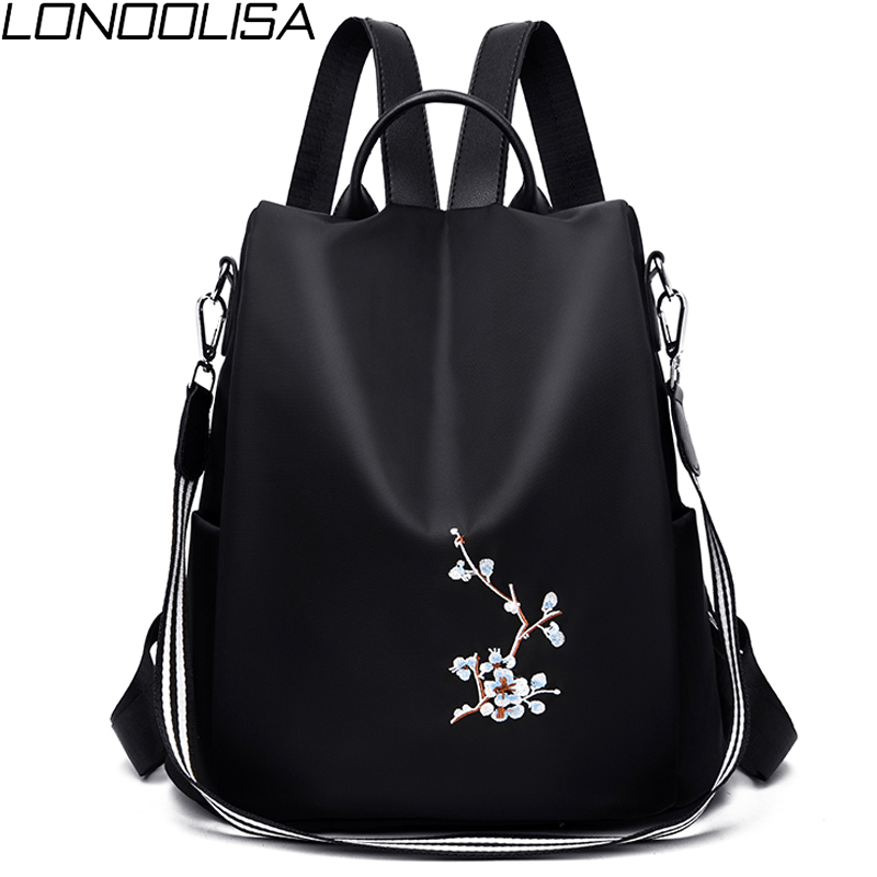 Elegant Women Embroidery Backpacks Mochila Feminina 3 In 1 Light School Bag For Girls Rucksack Anti-theft Design Travel Backpack
