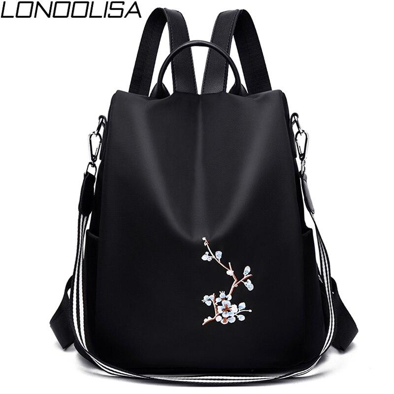 Elegant Women Embroidery Backpacks Mochila Feminina 3 In 1 Light School Bag For Girls Rucksack Anti-theft Design Travel Backpack