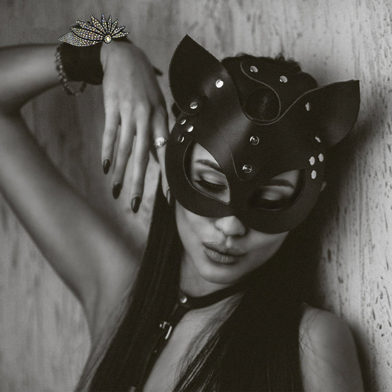Sexy Leather Cat Mask BDSM Bondage Restraints Head Black Eye Mask Catwoman Fetish Cosplay Face Mask Women Erotic Accessories