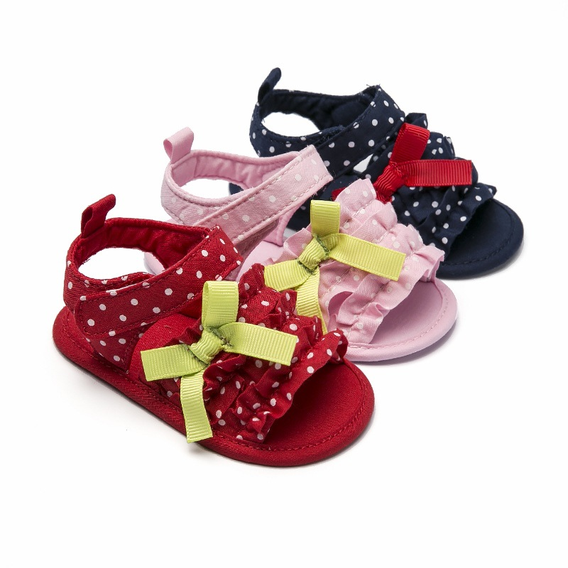 Summer Baby Girl Sandals Baby Shoes Cotton Bow+Wave Floral Shoes Baby Girl Shoes Sandals Fashion Casual Girl Sandals 0-18M