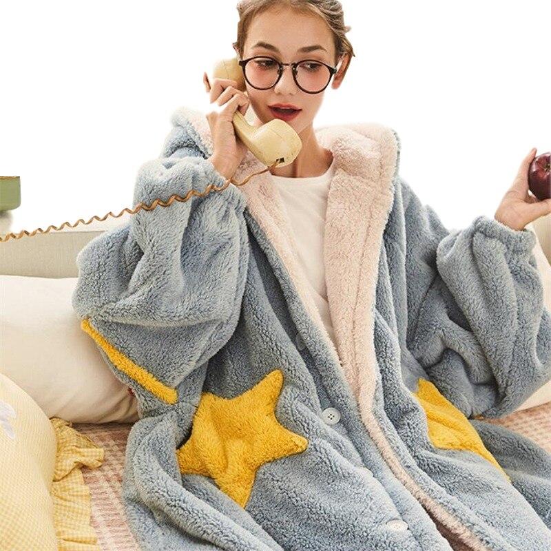 For Ladies Thick Soft Sleepwear Long Nightgowns 2020 Women Winter Coral Fleece Bathrobe Hooded Pajamas