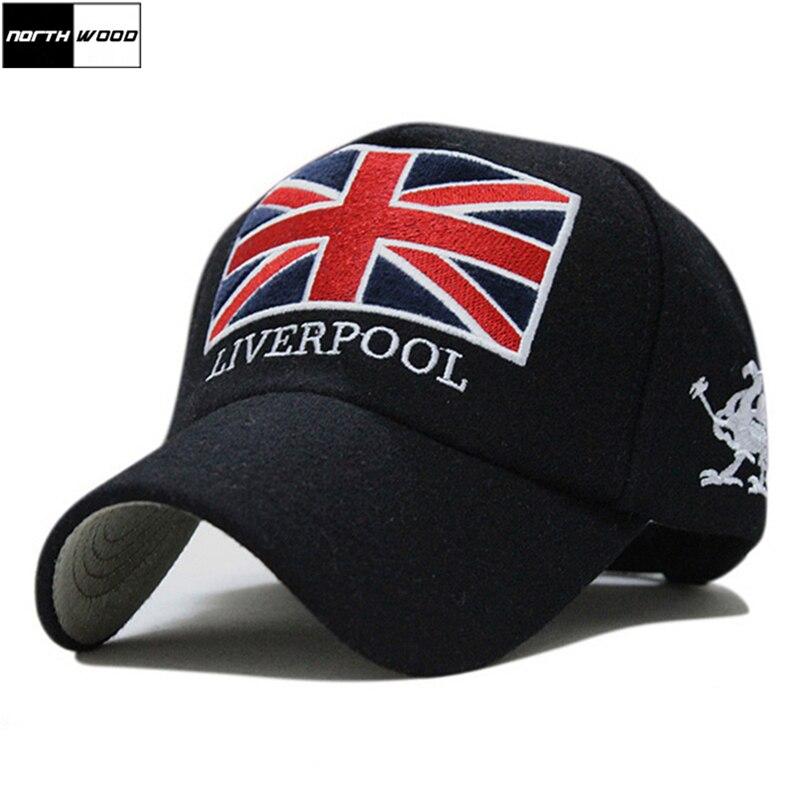 New Arrivals Winter Baseball Cap Men Liverpool Warm Felt Bone Snapback Hat Women Gorras Snap Backs With England Flag For Autumn