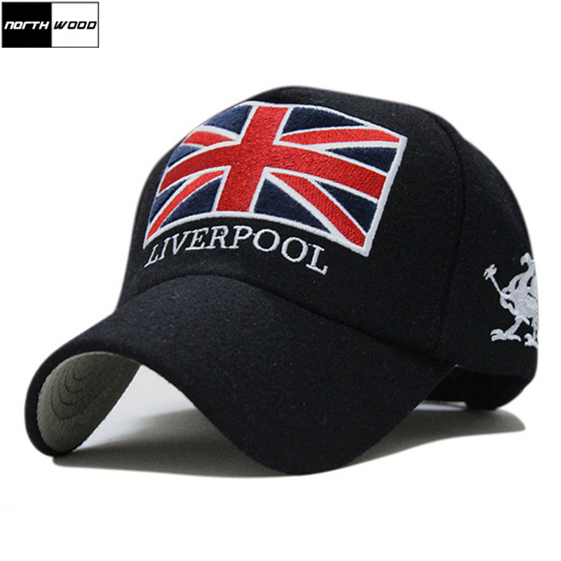 New Arrivals Winter   Baseball     Cap   Men Liverpool Warm Felt Bone Snapback Hat Women Gorras Snap Backs With England Flag for Autumn