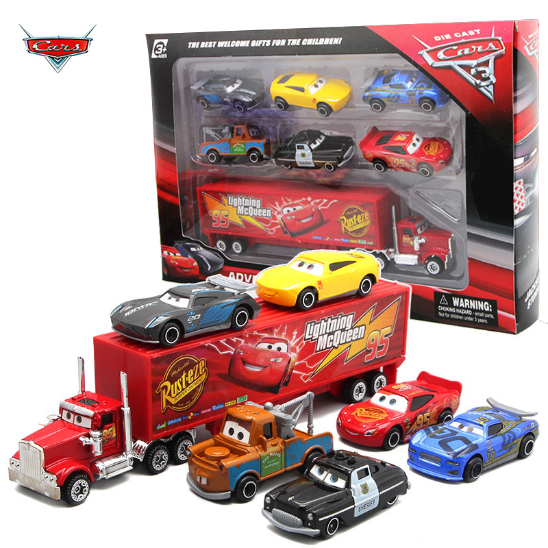 7PCS/Set Disney Pixar Car 3 Lightning McQueen Jackson Storm Mack Uncle Truck 1:55 Diecast Metal Car Model Toy Boy Christmas Gift
