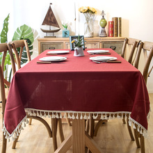 INS Nordic Solid Color Waterproof Imitation Cotton Tassel Lace Table Cloth Geometric Plain Square Coffee Table Cloth Tablecloth цена 2017