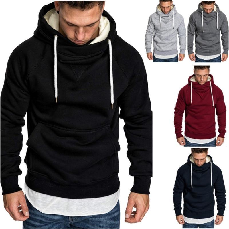 Fashion Fleece Hoodies Men 2019 Slim Fit Fleece Hoodie Winter Black Sweatshirts Men Warm Zipper Hood Sweatshirts For Men Casual