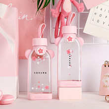 Glass water bottle cherry blossom pattern transparent creative fresh cute girl heart portable sports outdoor cup