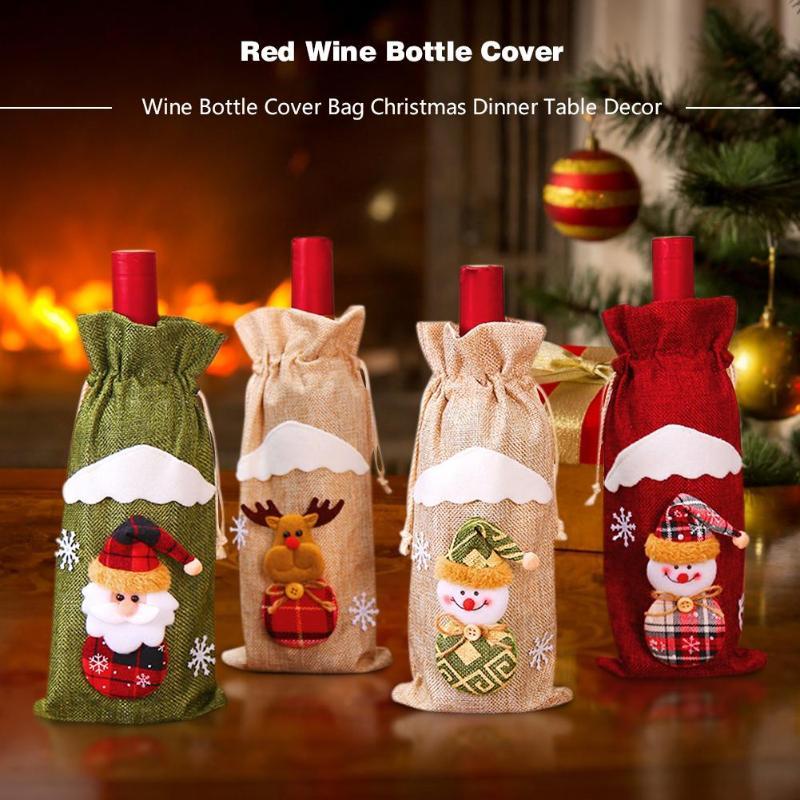 Cute Christmas Decorations Santa Wine Bottle Cover Bag Xmas Party Table Decor