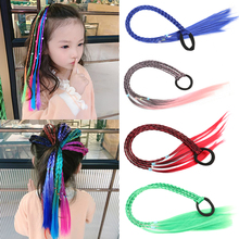 Hair-Accessories False-Colored Fake Made Synthetic Strands Natural of for Girl Elastic-Band