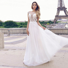 Eightale Elegant Wedding Dresses Boho O-Neck Appliques A-Line Lace Top Tulle Skirt Floor Length Wedding Gowns White Ivory Bride smileven a line lace wedding dress boho lace bride dresses o neckline floor length wedding gowns custom made