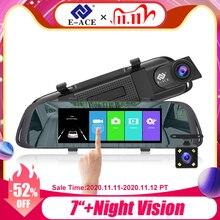 E ACE 7.0 Inch Touch Car DVR Mirror FHD 1080P Video Recorder Auto Registrator Dash Camera Dual Lens with Rear View Camera