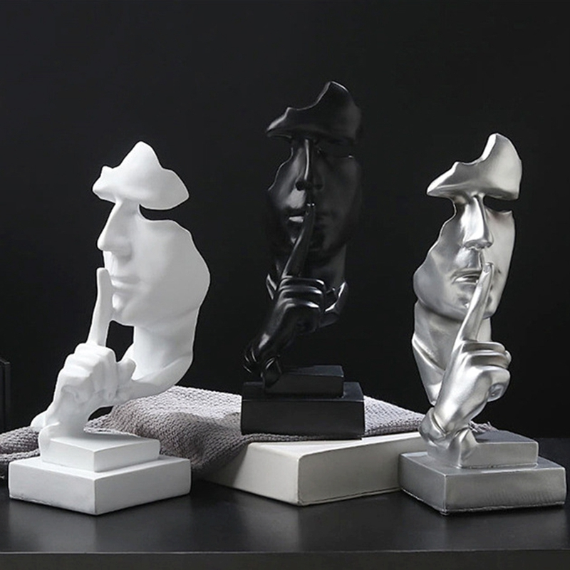 Nordic Style Art Silence Mask Statues Slience Is Gold Resin Sculptures Figurine Imitate Antique Black White Decor Home Ornaments