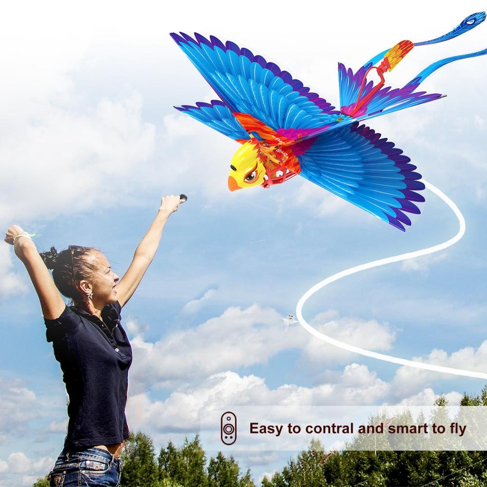 Go Go Bird Remote Control Flying Toy Mini RC Helicopter Drone-Tech Toys Smart Bionic Flapping Wings Flying Birds for Kids Adults (Blue)