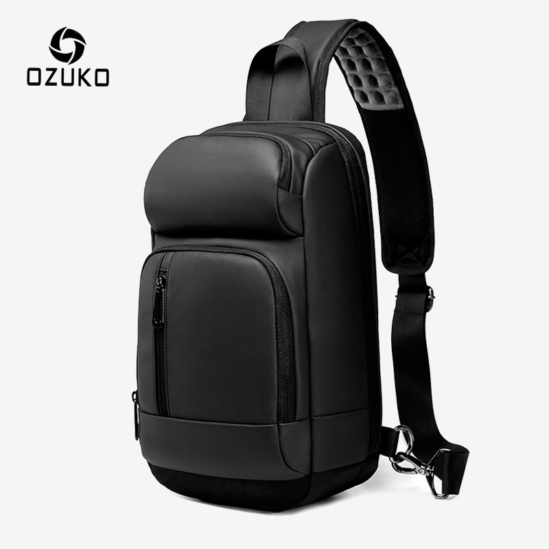 OZUKO Men's USB Charging Waterproof Chest Pack Male Messenger Crossbody Bag Short Trip Shoulder Bag 9.7 Inch IPad Sling Bags New