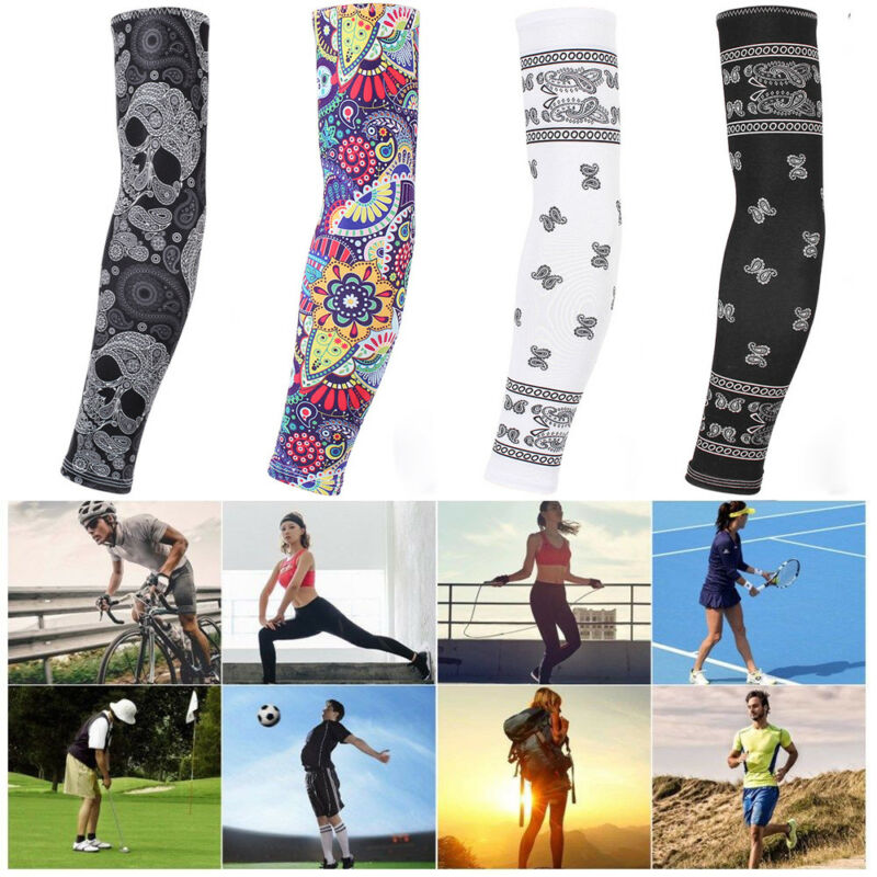 Prevent Bask In Summer Ice Silk Sleeves 1Pair Cooling Arm Sleeves Cover UV Sun Protection Sports Basketball Golf Driving