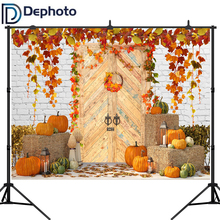 Dephoto Halloween Pumpkin White Brick Wall Wood Door Photography Background Autumn Farm Leaves Backdrop Photo Studio Prop