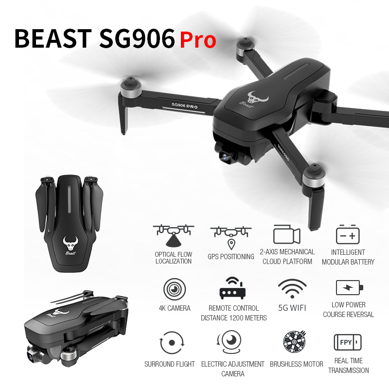 HGIYI SG906 PRO GPS Drone With 2-axis Anti-shake Self-stabilizing Gimbal 4K HD Camera WiFi FPV 50 Times Zoom RC Drone Quadcopter