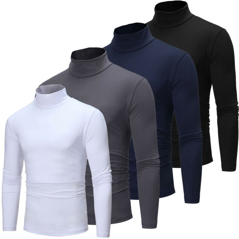 Mens Long Sleeve Cotton High Neck Turtleneck Stretch Slim Basic Tee Tops New Mens Roll Turtle Neck Pullover Knitted Sweater