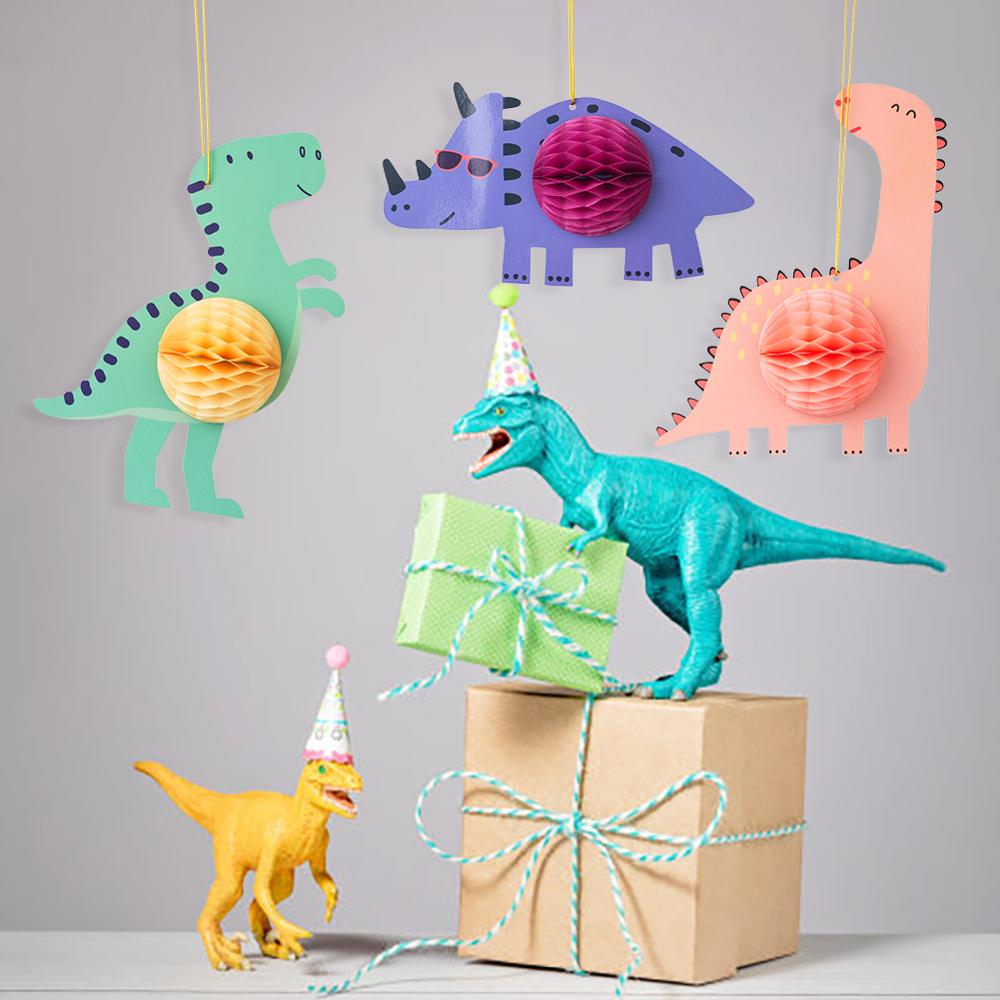 3pcs Cartoon Dinosaur Kids Birthday Party Honeycomb Hanging Decoration For Baby Shower Christmas Party 1st Birthday Graduation