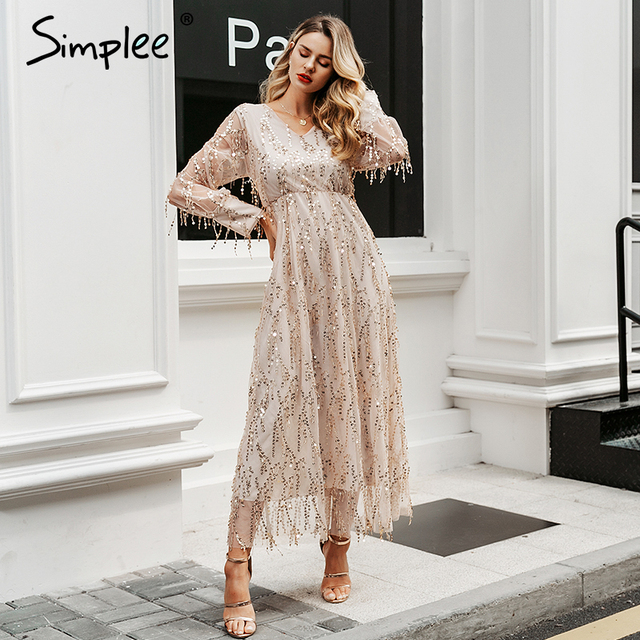 Simplee Sexy v-neck evening women maxi dress Elegant mesh long sleeve sequin night dress autumn lady plus size party dress 2019