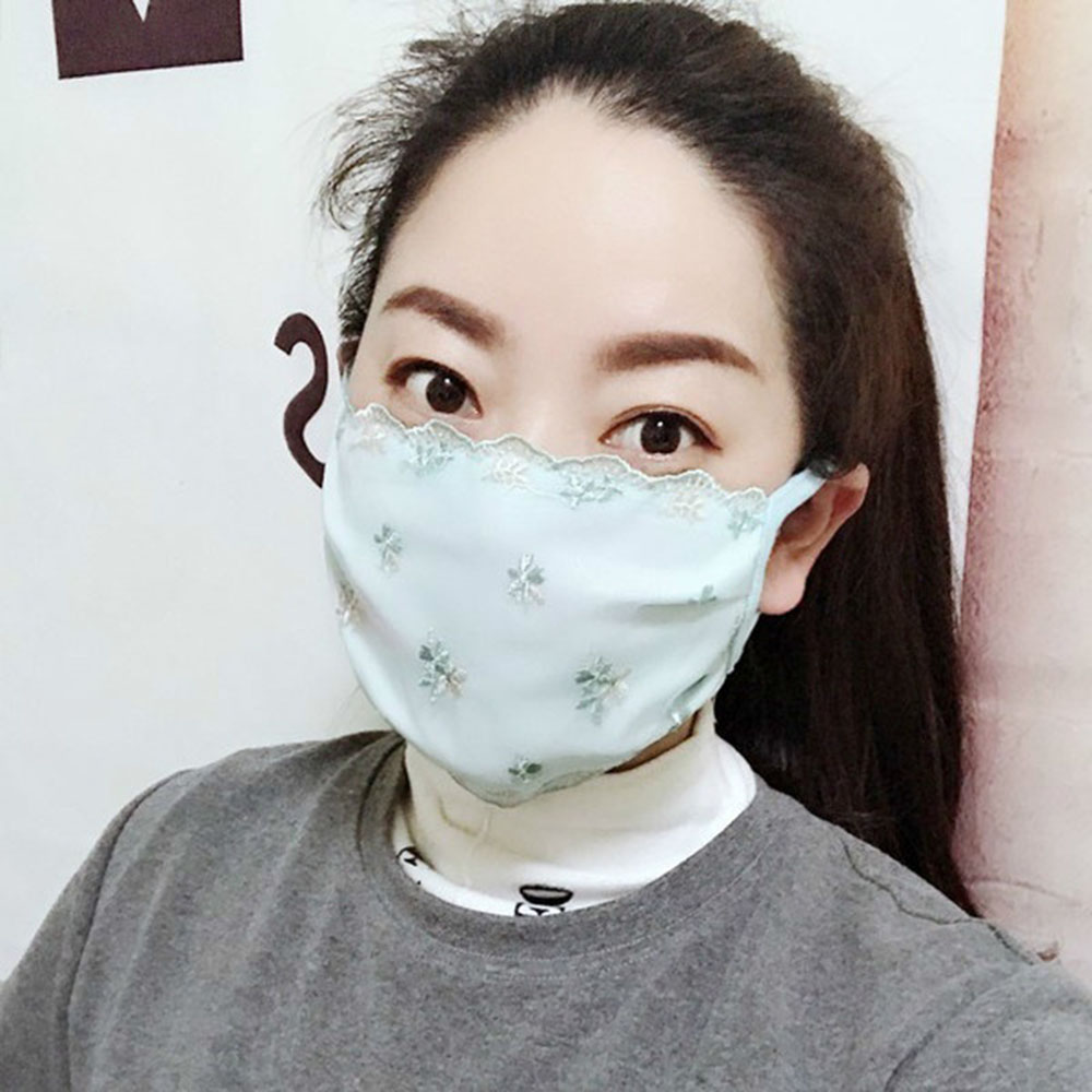 Fashion Embroidery Floral Print Sunscreen Lace Mask Mouth Cover Women Lady Breathable Face Sheild Mouth-muffle Mask 4Colors