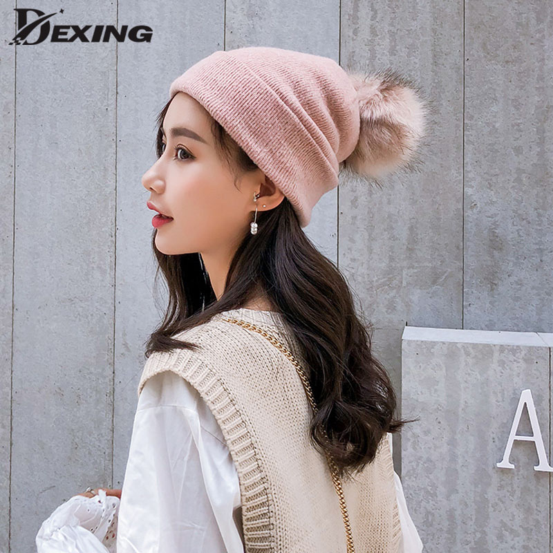 New Winter Pink Ball   Beanie   Hat For Women Fluffy Double Faux Fur Pom Pom knitted   Skullies     Beanie   With Pompom Ski
