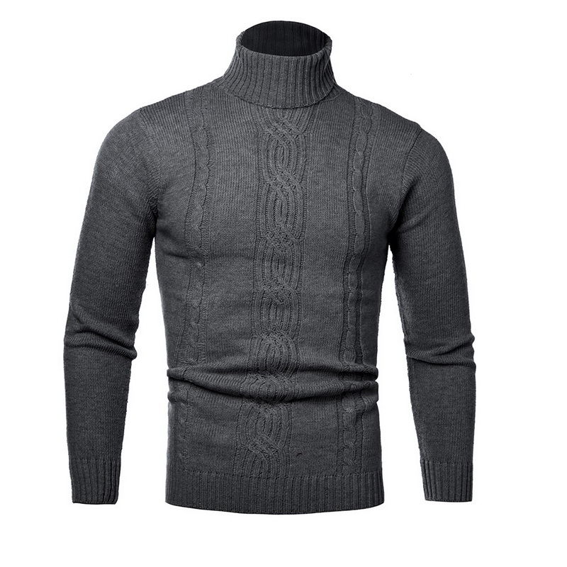 2019 Winter Turtleneck Sweater Men Vintage Pull Homme Casual Pullovers Male Outwear Slim Knitted Sweater Solid Jumper J819