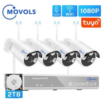 Беспроводная система видеонаблюдения MOVOLS H.265, 4 канала, 1080P, Tuya Zigbee NVR, 4 шт., 2 Мп, Wi-Fi, камера безопасности, аудио, комплект видеонаблюдения