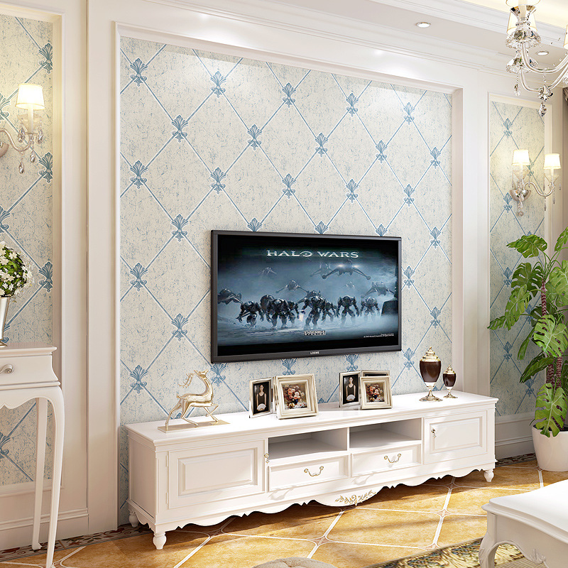 3D European Style Faux Leather Pattern Rhombus Living Room TV Wall Wallpaper Nonwoven Fabric Bedroom Bedside Wallpaper