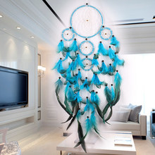 Dreamcatcher Indian Style Dream Catcher Feather Creative Birthday Gifts Pendant Wind Chime Room Decoration White / Black Bead(China)