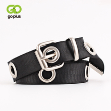 GOPLUS Brand Luxury Canvas Womens Belt Hollow Out Hole Waistband Metal Ring Wild Male Punk Cowboy Cinturones Para Mujer