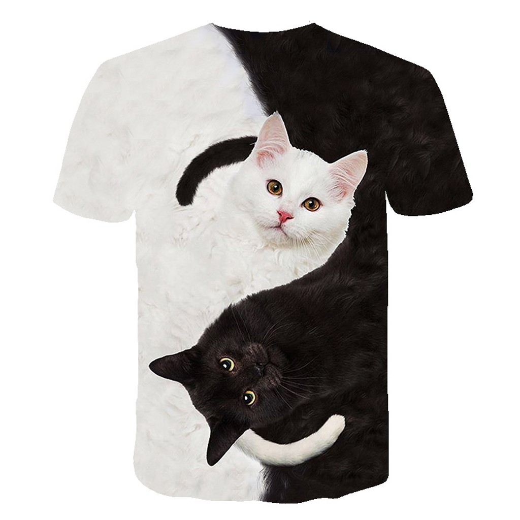 Fashion 2020 New Cool T-shirt Men/Women 3d Tshirt Print two cat Short Sleeve Summer Tops Tees T shirt Male S-3XL