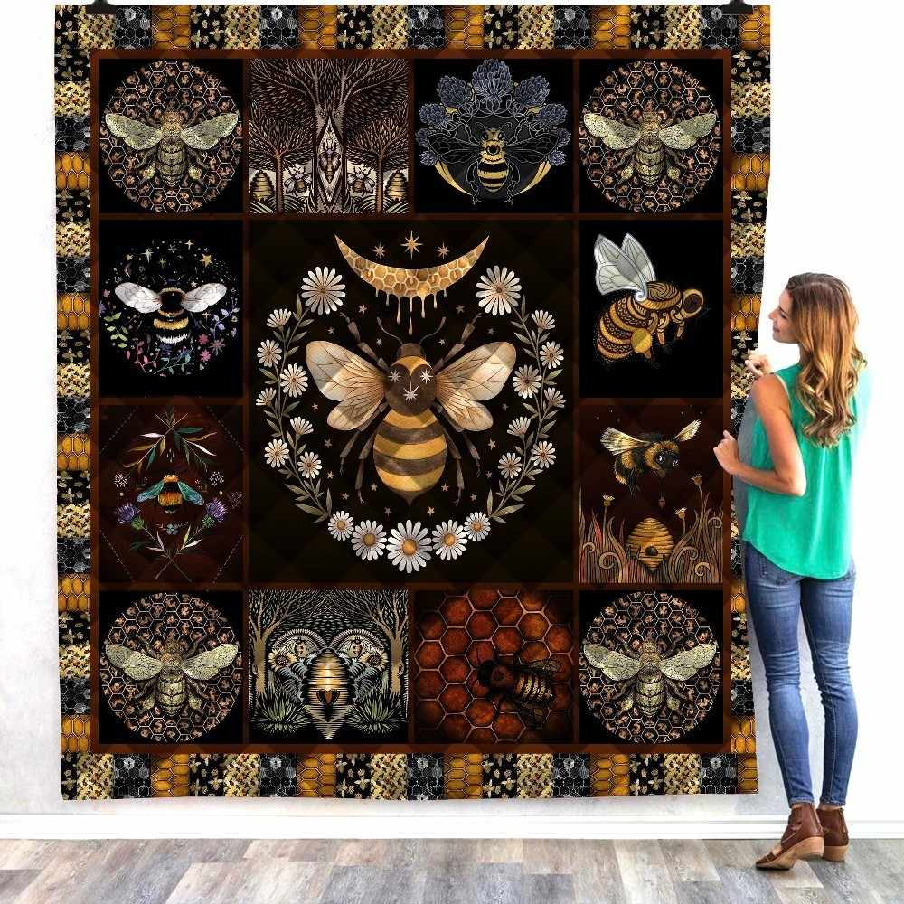 Anime Bee Butterfly Print Home Sofa Cover Quilt Queen King For Bed Watching Blanket Soft Travel Hotel Warm Blanket Cotton Quilt