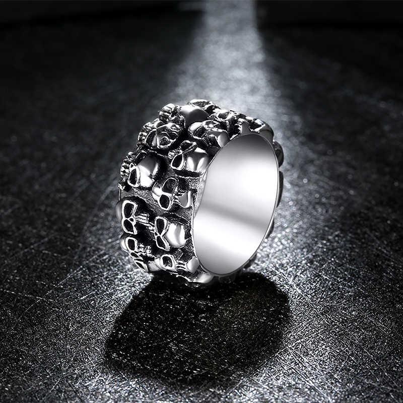 Moda hip hop estrela cruz coroa anel masculino acessórios do vintage punk rock grande biker signet anel antigo prata tibetano jóias