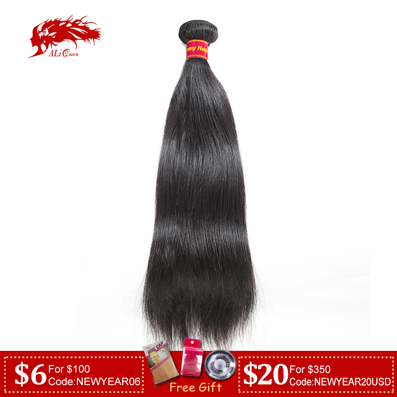 Brazilian Straight Human Hair Weaves Bundles 1/3/4 Pcs Natural Black Remy Hair Free Shipping Ali Queen 100% Human Hair Bundles title=